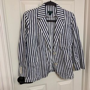 Ralph Lauren blue and white striped blazer top